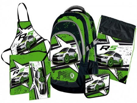 Zelený batoh s motivem auta R5